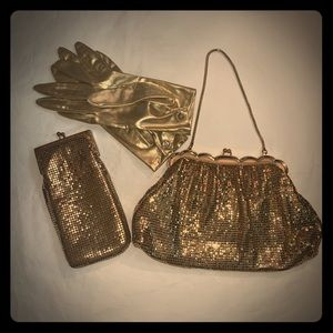 Vintage Mesh Whiting and Davis Co Gold Clutch